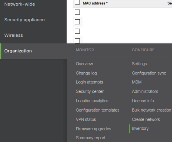 Meraki Dashboard Device Inventory