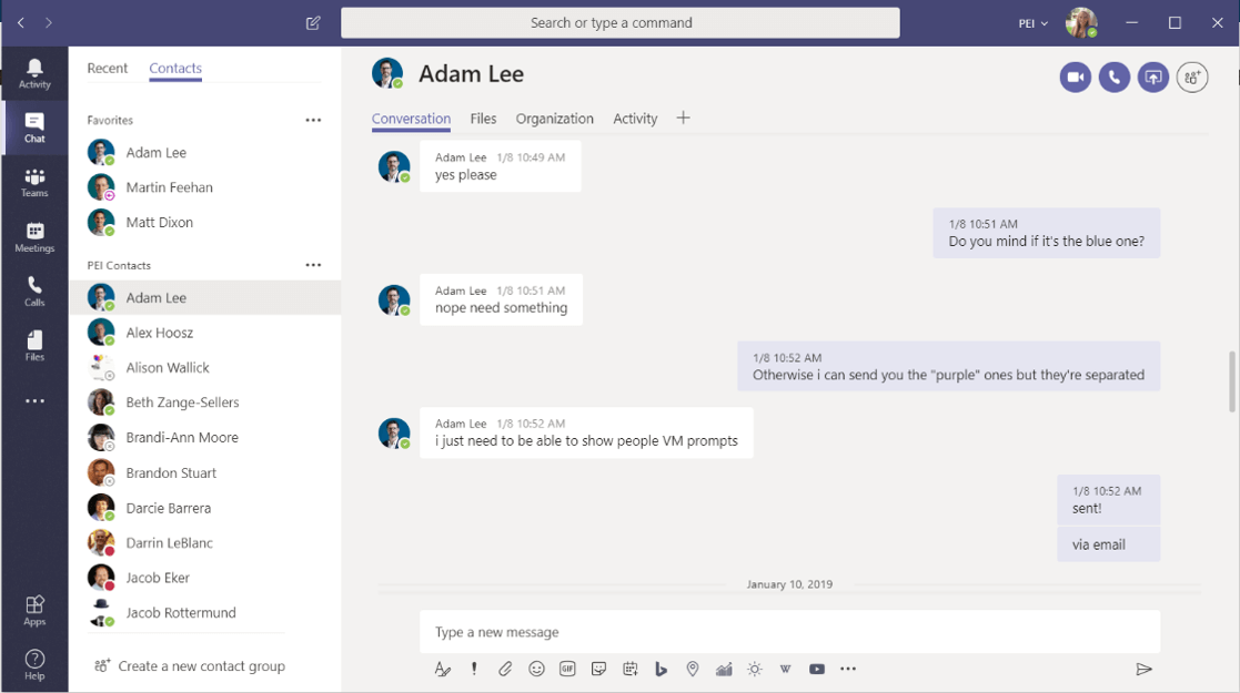 Instant Messages on the Chat tab