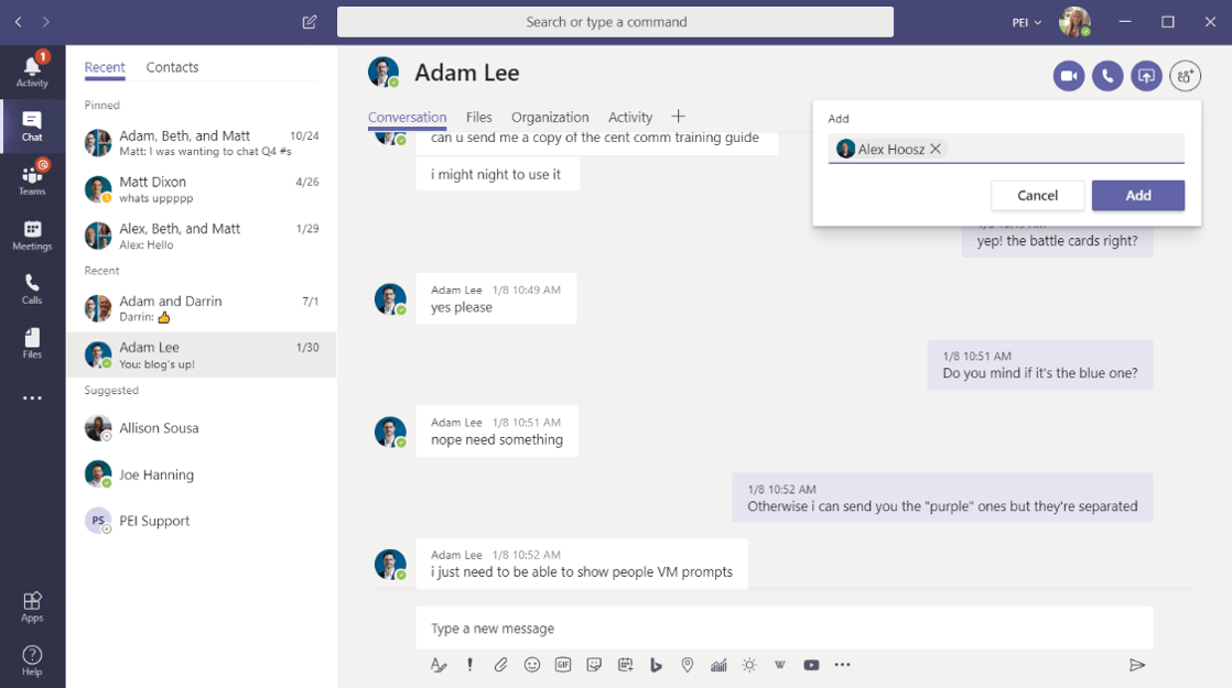 Adding People to a Group chat in Microsoft Teams