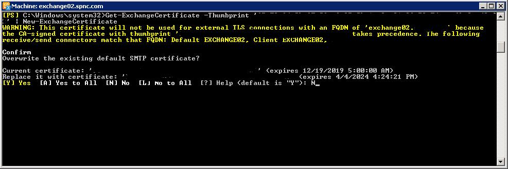Exchange Certificate PowerShell Command