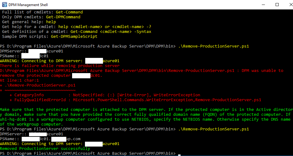 DPM Management Shell Force Remove DPM Agent screenshot