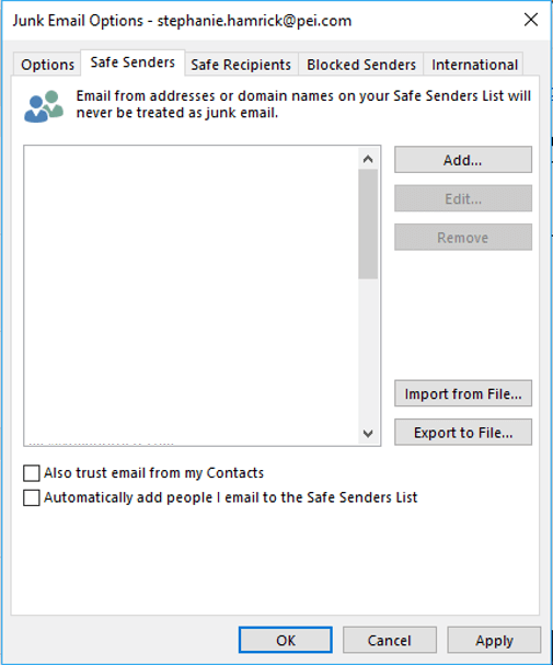 Safe Senders Whitelist in Outlook Desktop