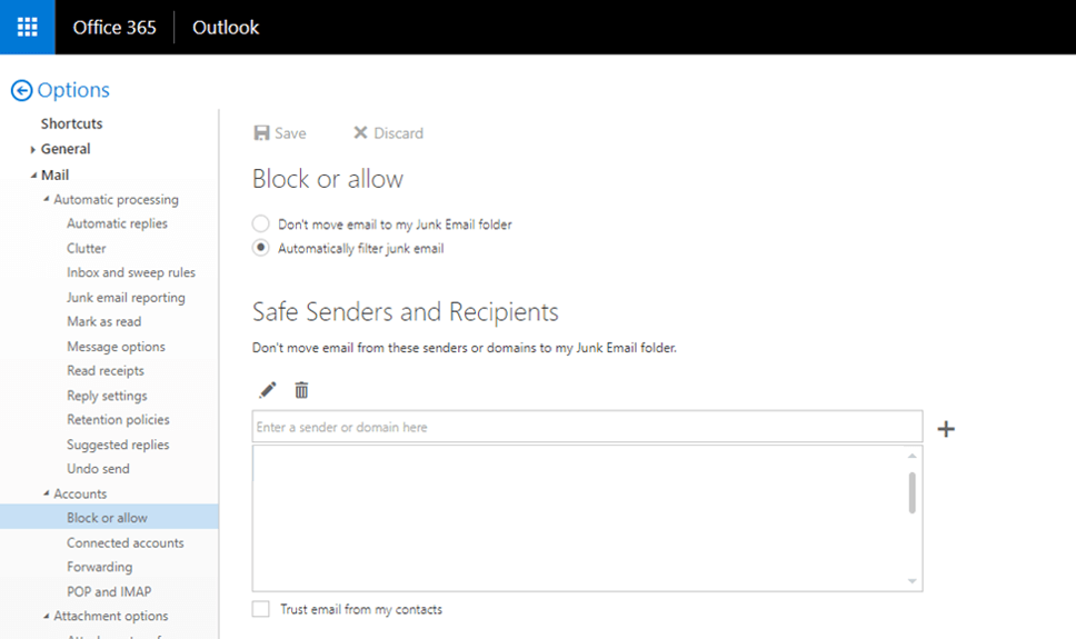 Add Email to safe senders in outlook web app legacy