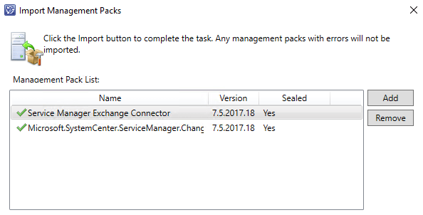 Service Manager Console Management Packs