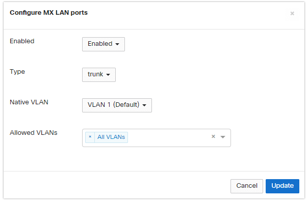 Configure uplick ports to carry VLAN traffic