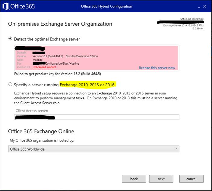 Exchange Hybrid Server 2019 Licensing Changes