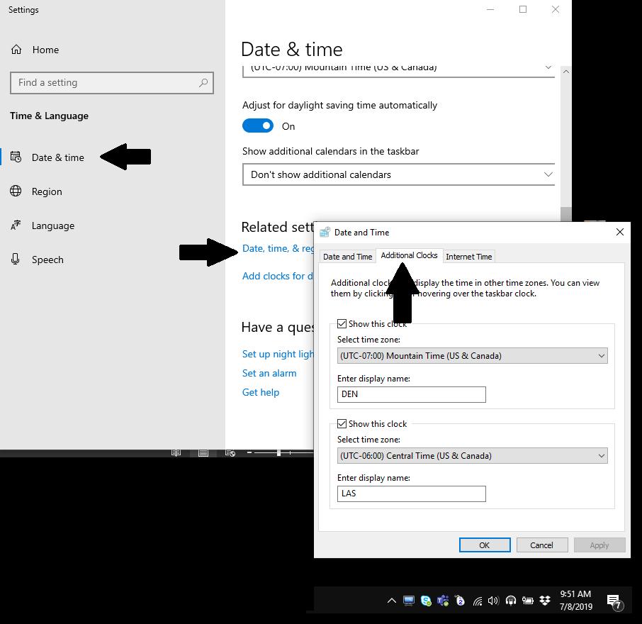 Windows 10 add time zone settings
