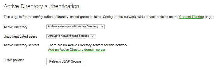 Use content filtering with Active Directory