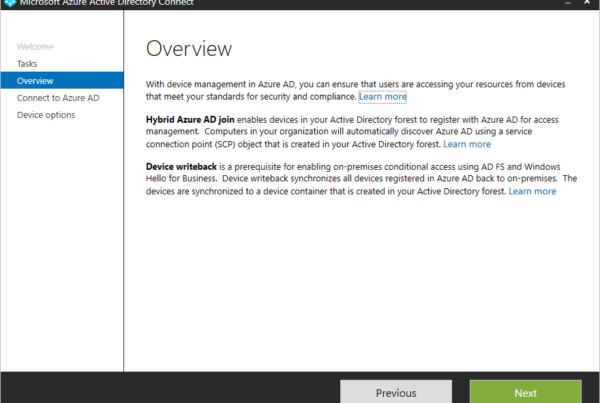 Hybrid Azure AD Join Overview page