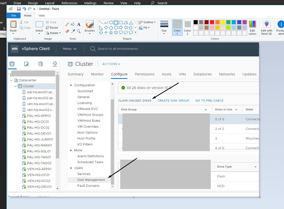 Claim unused disks in vSphere Client