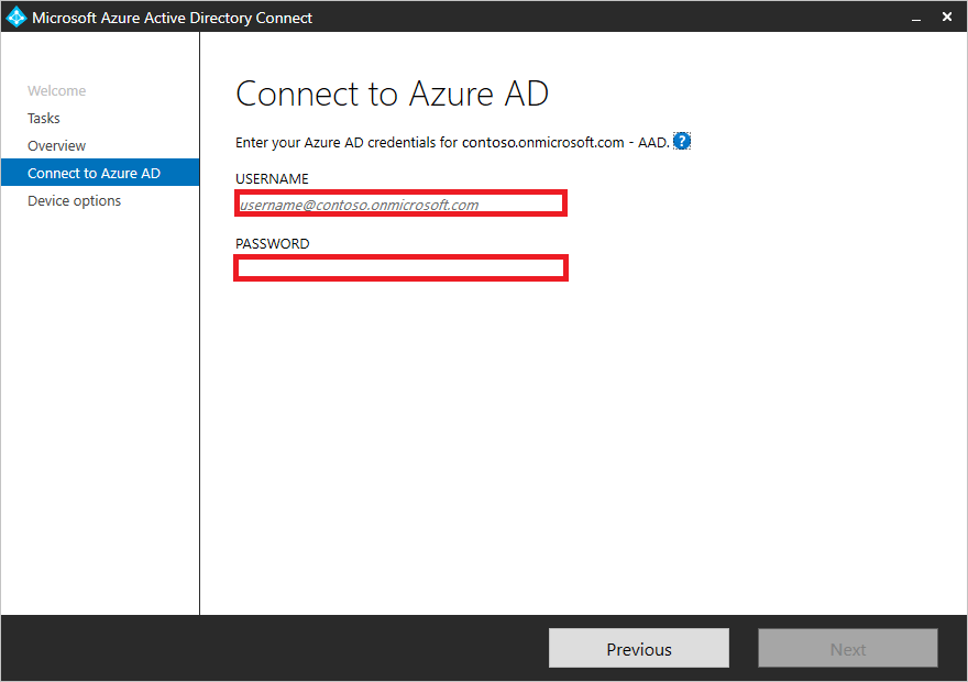 Connect to Azure AD with global admin credentials