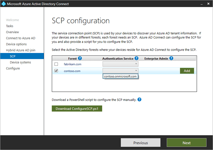 Configure SCP for Azure AD Connect Hybrid