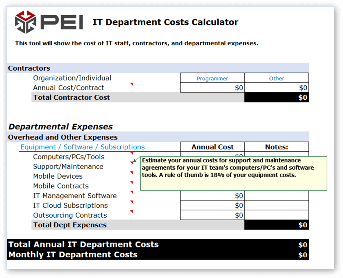 Information Technology Costs Calculator preview 2