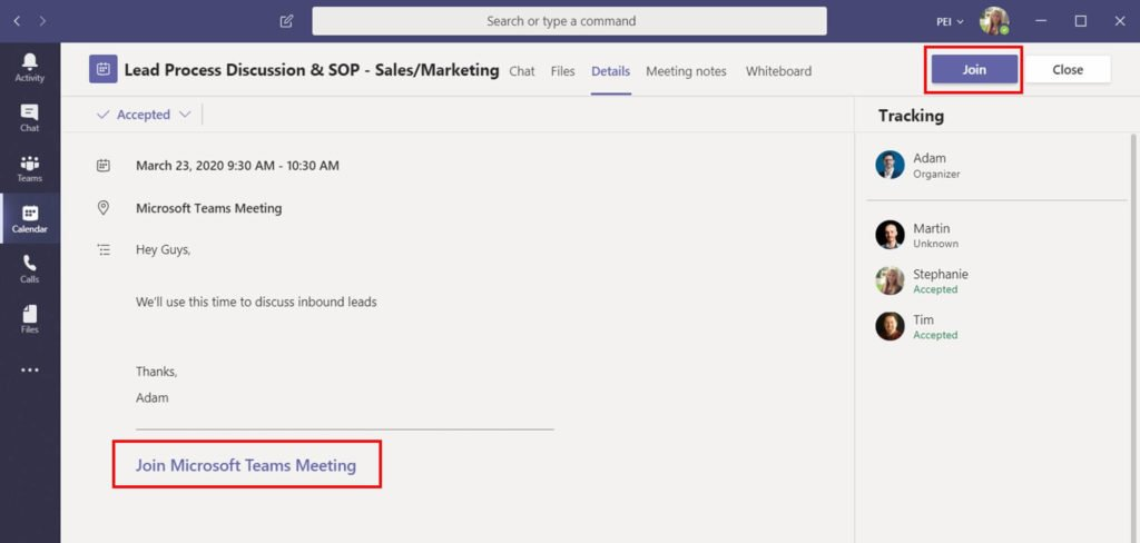 Join a Meeting from Microsoft Teams App