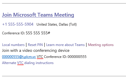 Microsoft Teams Join link with Audio Conferencing License