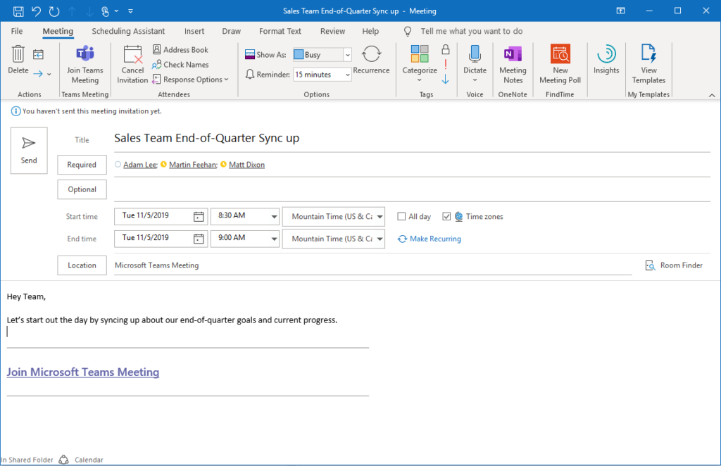 Schedule a Microsoft Teams Meeting in Outlook