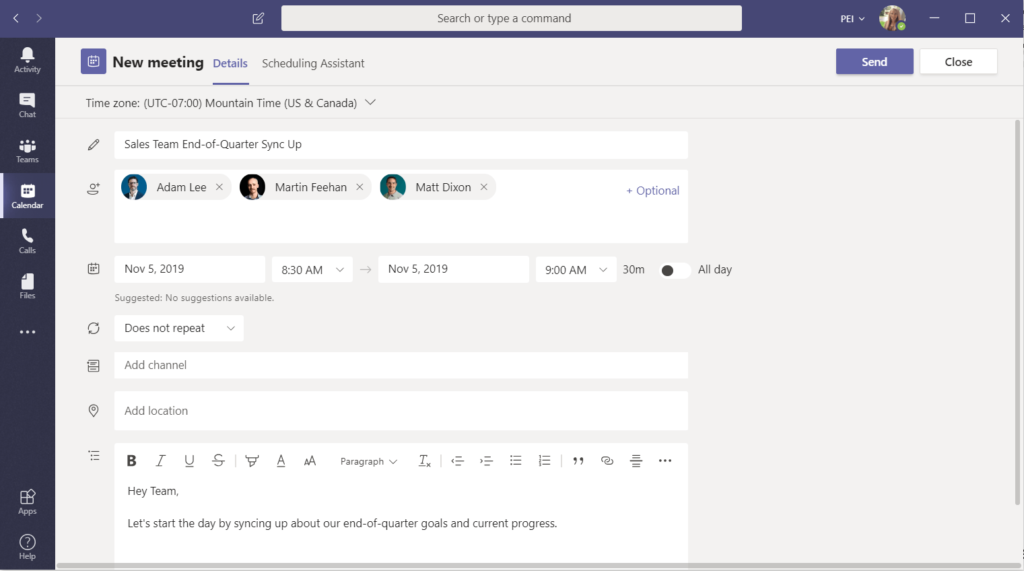 Schedule a Microsoft Teams Meeting from Microsoft Teams